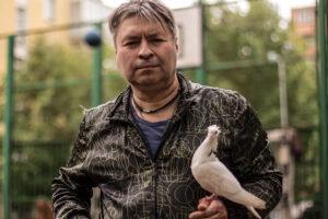 Мужчина держит белого голубя на руке