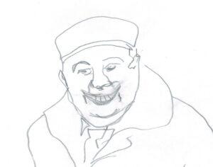 мужчина в кепке с галстуком улыбается