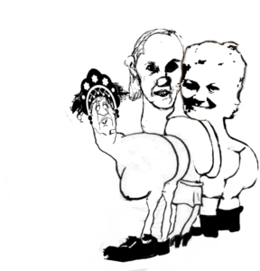 три женщины с голым задом